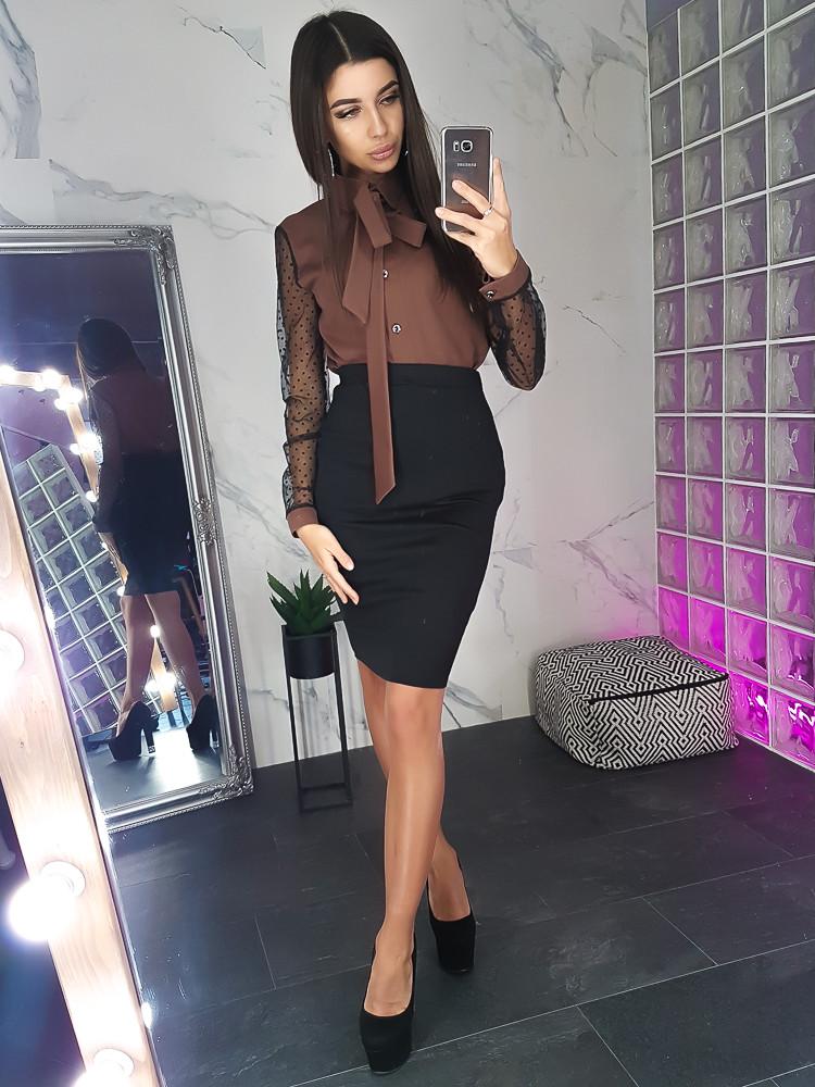 4266068e91e Комплект  Коричневая блузка с рукавами из сетки -добби и юбка карандаш