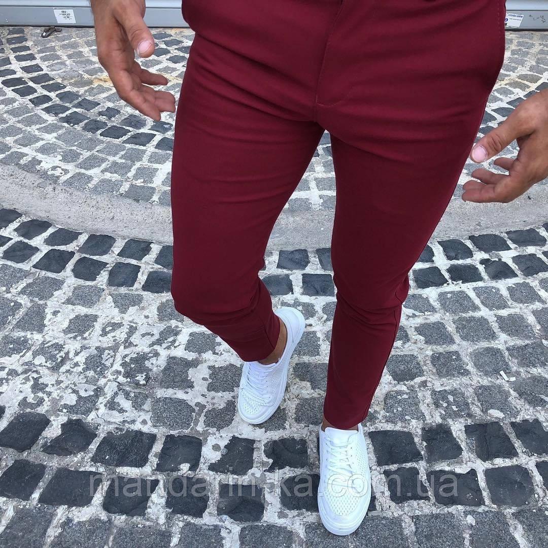 Мужские   брюки зауженные к  низу Slim Fit слим фит  бордовые