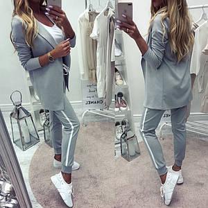 Женский костюм в спортивном стиле с пиджаком /серый, 42-52р., sh-007/