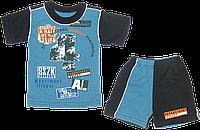 Детский летний костюмчик, футболка  и шортики, тонкий хлопок, ТМ Ромашка, р. 86-92, 98-104, Украина 86 Голубой