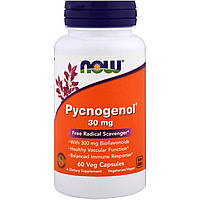 Пикногенол, Pycnogenol, Now Foods, 30 мг, 60 капсул.