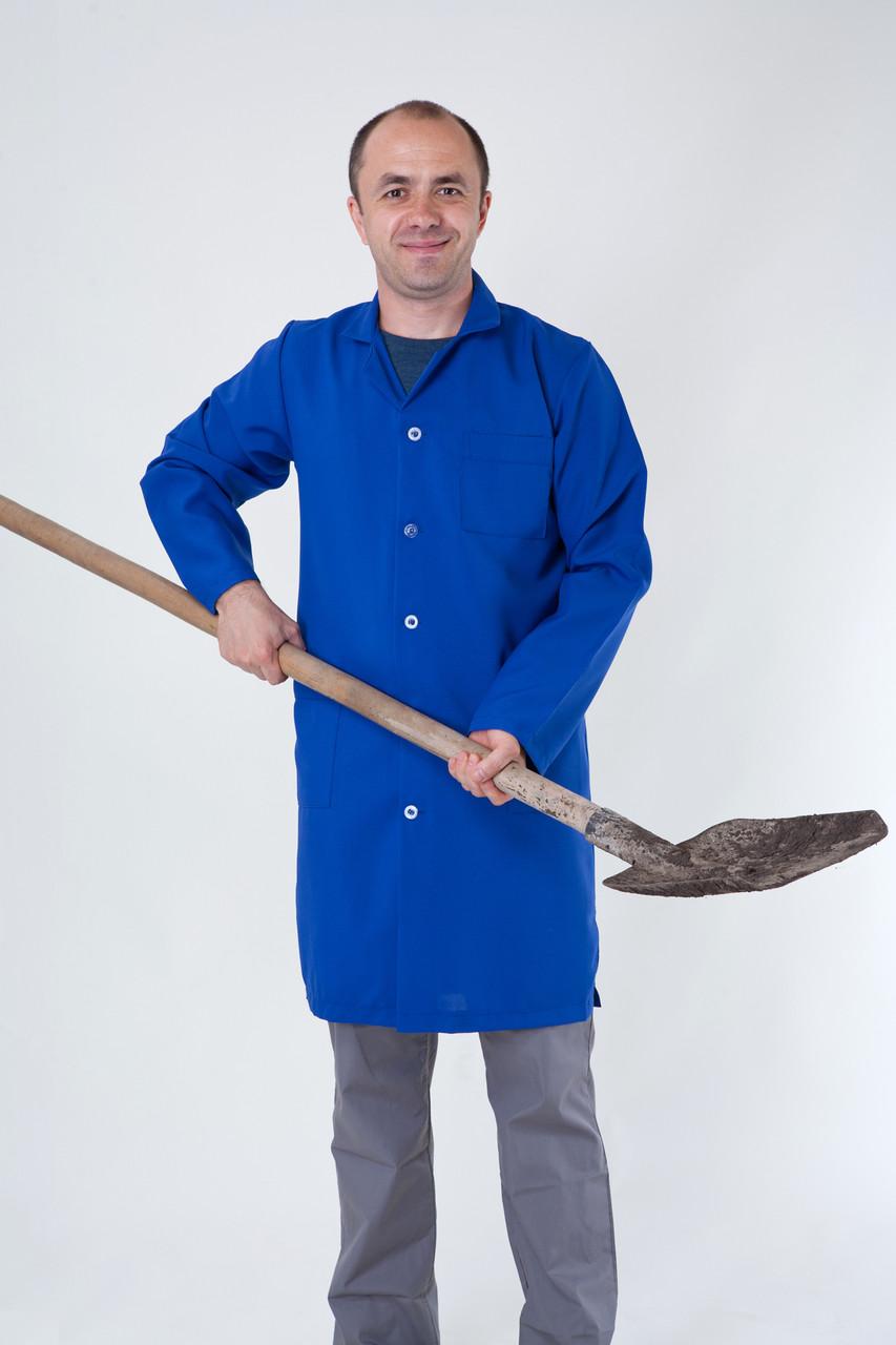 Рабочий мужской халат синего цвета 1125 ( габардин  44-60 р-ры )