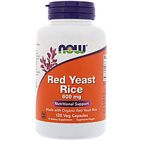 Красный дрожжевой рис, Red Yeast Rice, Now Foods, 600 мг, 120 капсул