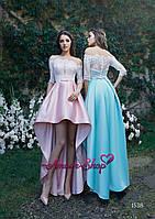 Асимметричное атласное платье на выпускной с открытыми ногами