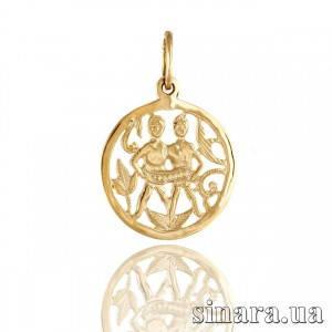 Золотая подвеска знак зодиака Близнецы 343