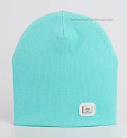 Трикотажная шапочка для девочек Пинк (рубчик) мятного цвета