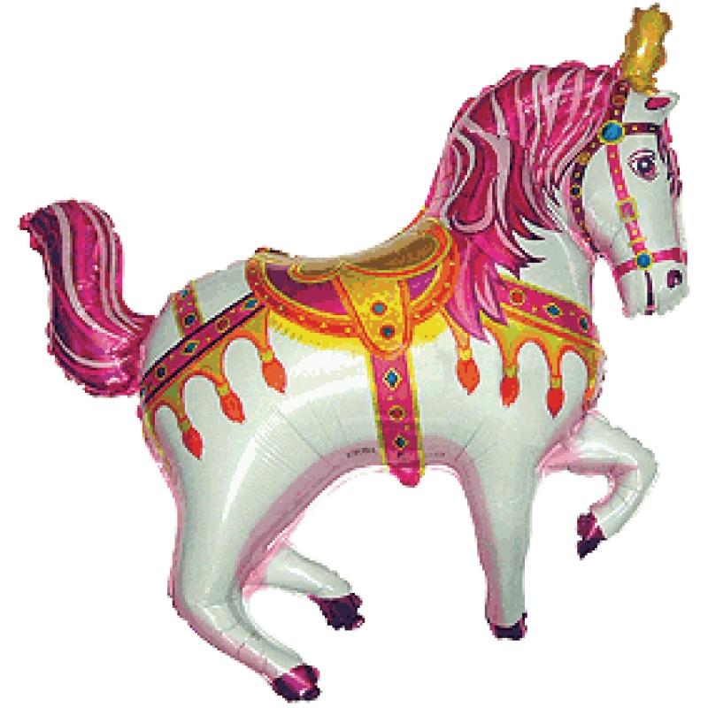 """Фольгированный шар Лошадь Ярморочная, Фуксия, Flexmetal (Испания), 35""""/90 см x 39""""/98 см"""