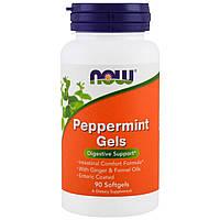 Перечная мята в капсулах, Peppermint Gels, Now Foods, 90 гелевых капсул