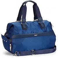 Сумка спортивная дорожная синяя на плечо багажная с карманом и отделом для обуви Dolly 941