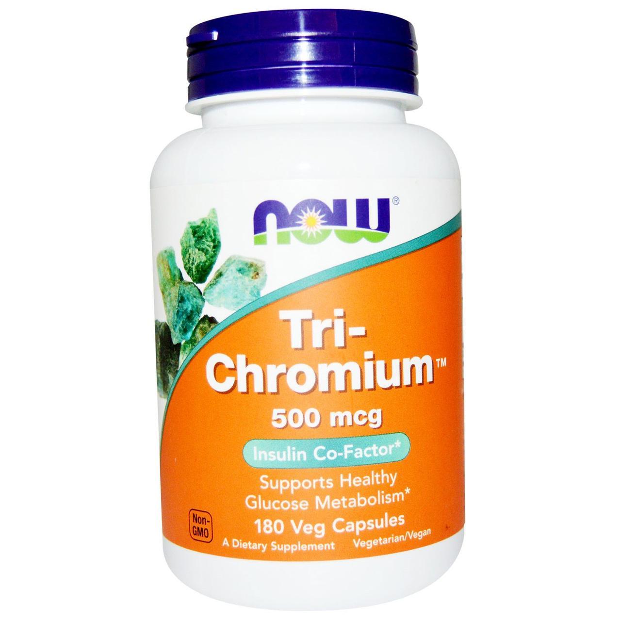Хром, Tri-Chromium, Now Foods, 500 мкг, 180 капсул
