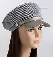 Женская демисезонная кепка Симона из вельвета серого цвета