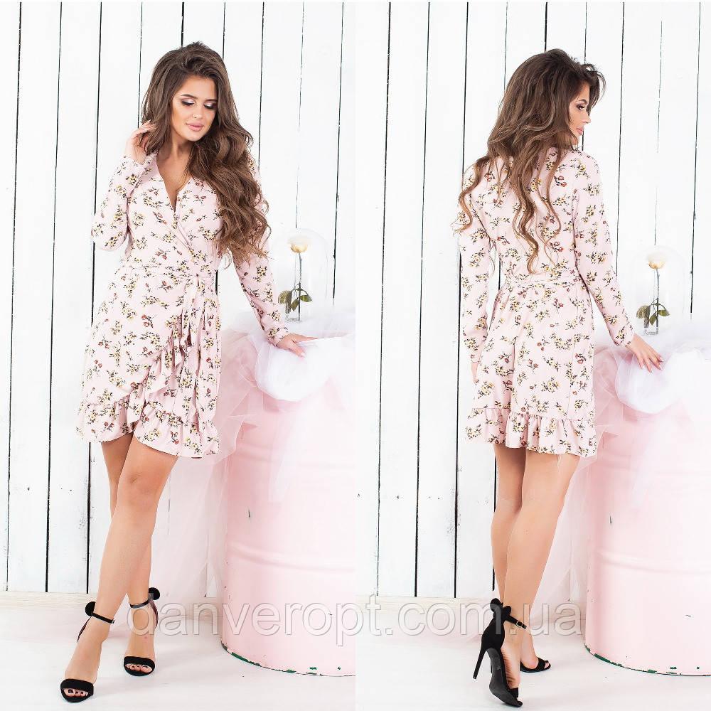 5e3cb9b0637 Платье женское на запах стильный принт размер S-L