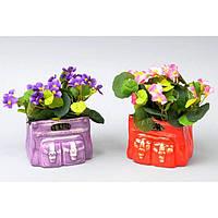 Фиалки в вазоне - искусственные цветы