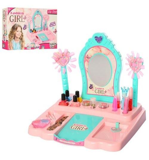 Игровой набор с трюмо, настоящая косметика для девочек Fashion Girl