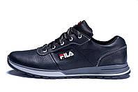 Мужские кожаные кроссовки FILA  Light Flight Black (реплика), фото 1