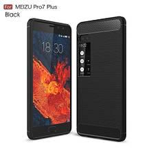 Чехол накладка силиконовый SK Fiber Carbon для Meizu Pro 7 Plus черный