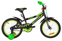 """Велосипед детский с боковыми колесами Formula Fury 16"""" черно-зеленый"""