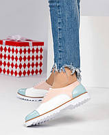 Туфли женские на шнуровке цветные