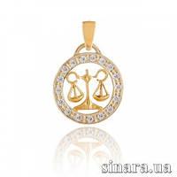 Золотая подвеска знак зодиака Весы 6422