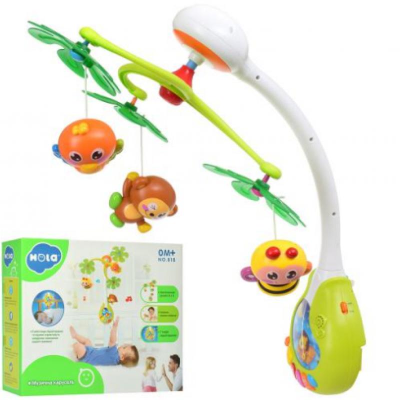 🔥✅ Детская музыкальная игрушка Карусель 818 с проектором на кроватку