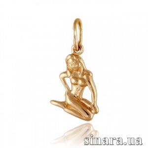 Золотая подвеска знак зодиака Дева 360