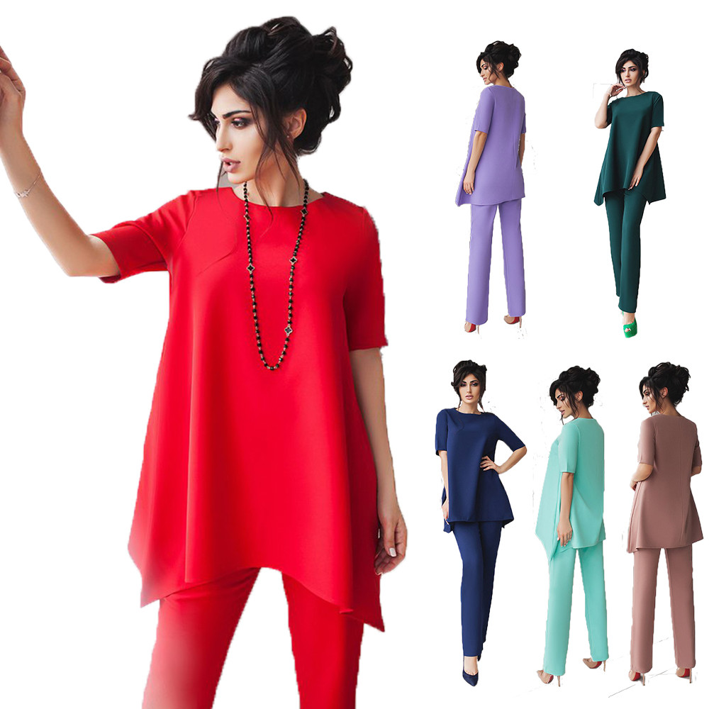 Нарядный женский костюм двойка брюки с туникой /разные цвета, 42-54р., sh-001/