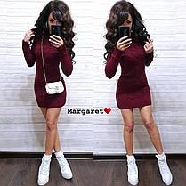 Платье мини вязаное с длинным рукавом шерсть, фото 3
