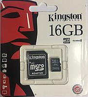 Kingston MicroSDHC UHS-1 16GB + SD-adapter . Карта памяти Кингстон 16 гиг + адаптер