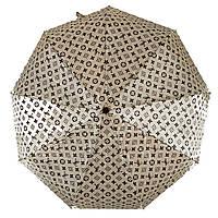 Женский зонт автомат Zita, с изображением логотипов модных брендов, бежевый, 6020-6