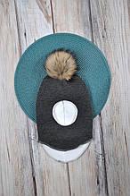 Шапка- шлем с бубоном из чернобурки, черный меланж