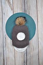 Шапка- шлем с бубоном из чернобурки, коричневый меланж