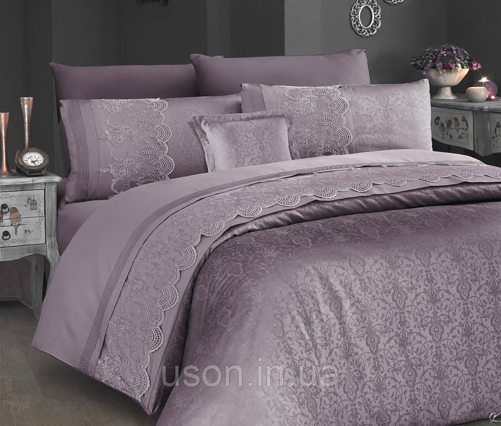 Комплект постельного белья сатин Moonlight first choice евро размер Hillary leylak