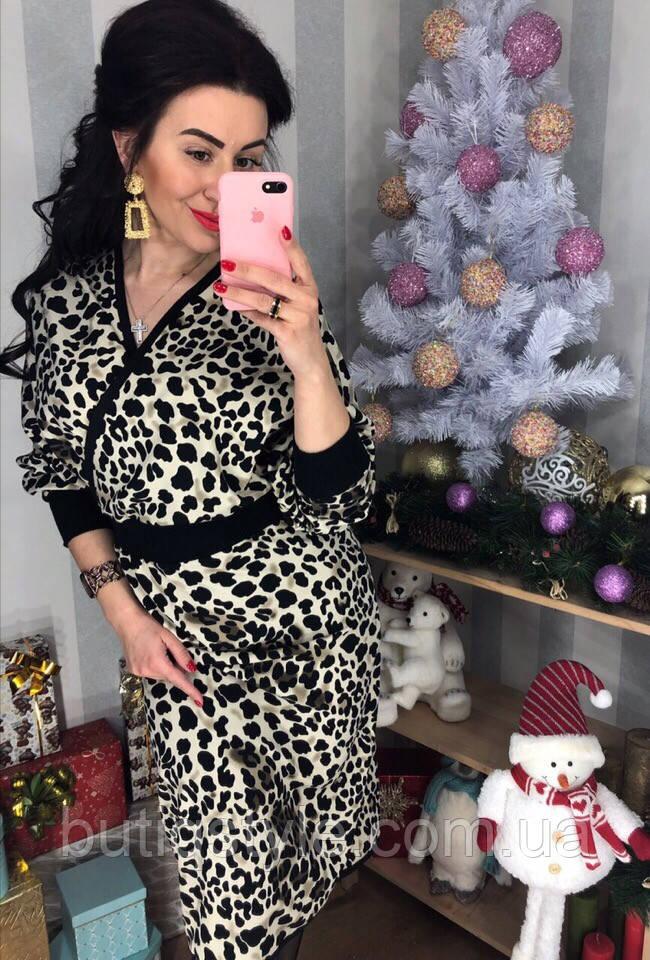 Красивое женское леопардовое платье беж, коричневое, голубое тренд 2019