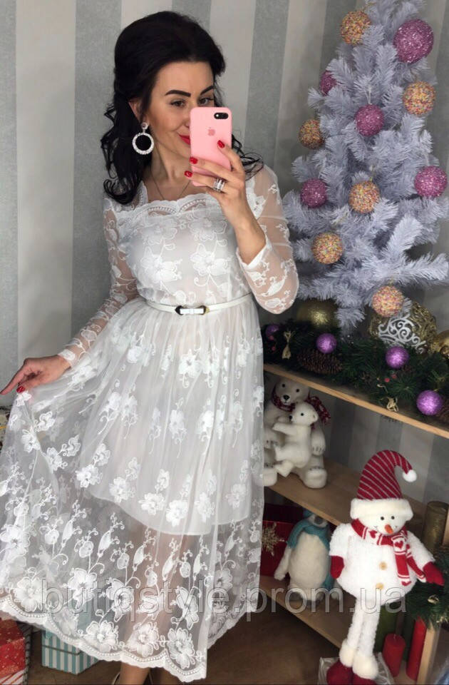 e8e8c4c74ff1ddf Красивое женское белое платье органза с вышивкой: продажа, цена в ...