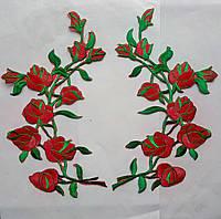 Аппликация тканевая цветы розы красные