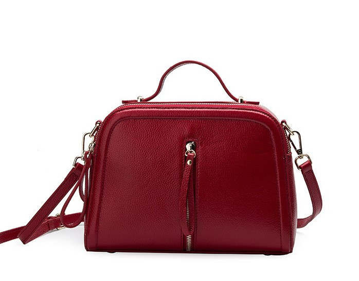 Кожаная женская сумка красная через плечо