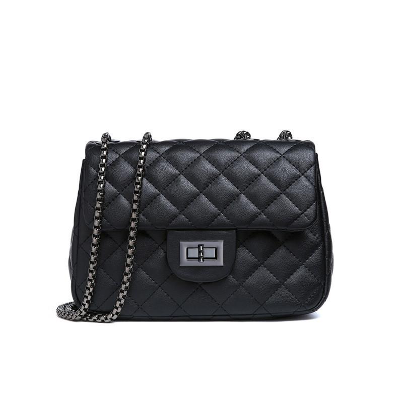 Кожаная сумка женская стеганая черного цвета