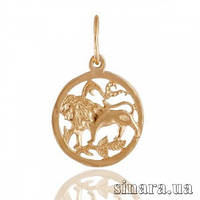 Золотая подвеска знак зодиака Лев 355