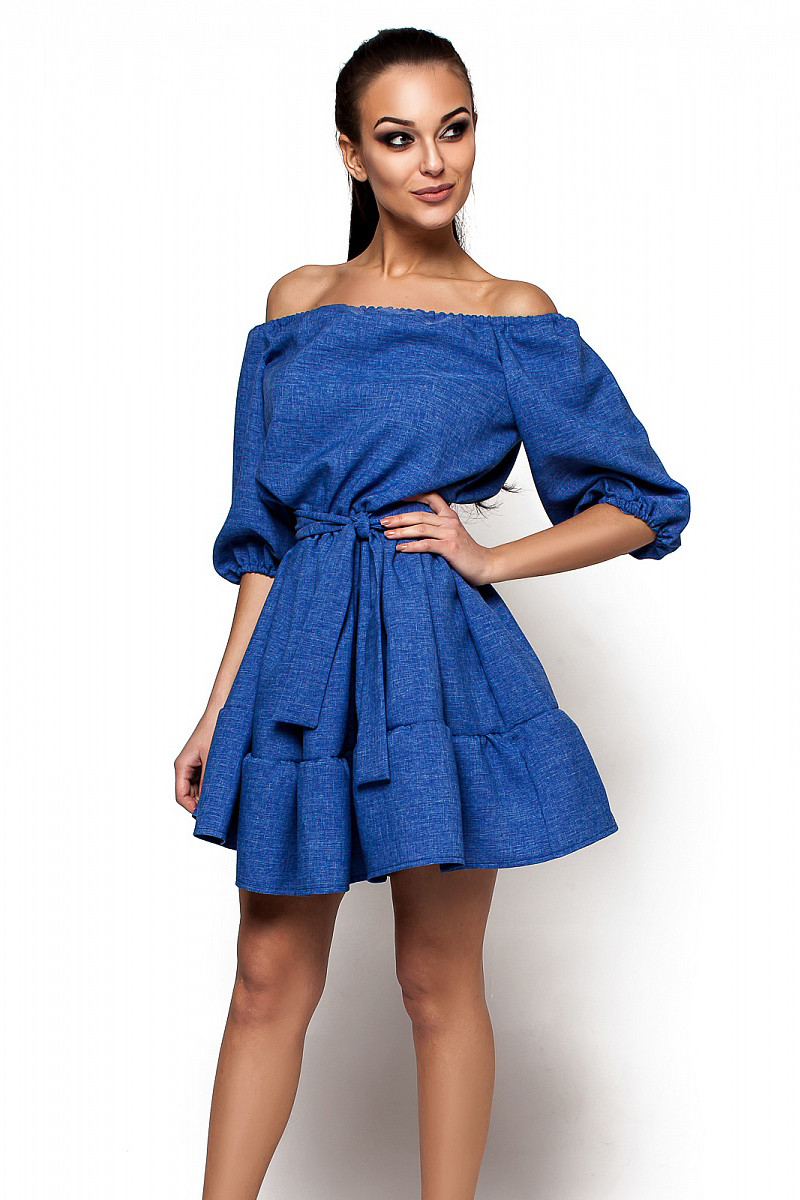 (S-M) Стильне синє коротке плаття Diana