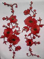 Аппликация тканевая цветы маки красные