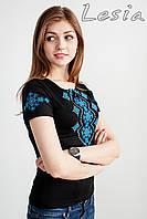Жіноча футболка з вишивкою Хвилька аквамарин