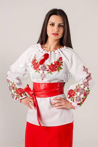 Женская вышиванка с розами и орнаментом Зоряна