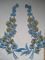 Аппликация тканевая цветы ветка голубая