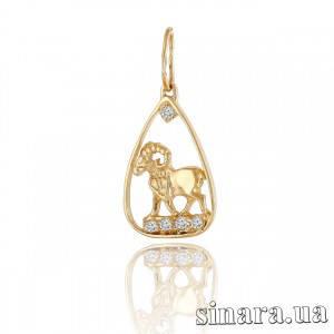 Золотая подвеска знак зодиака Овен 6415