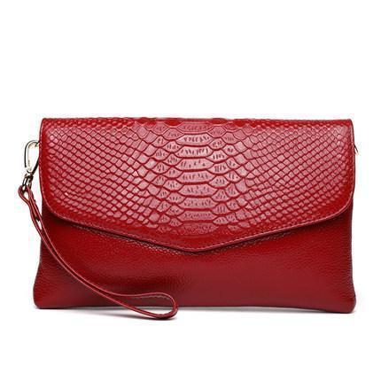Женская сумка клатч кожаная красного цвета опт
