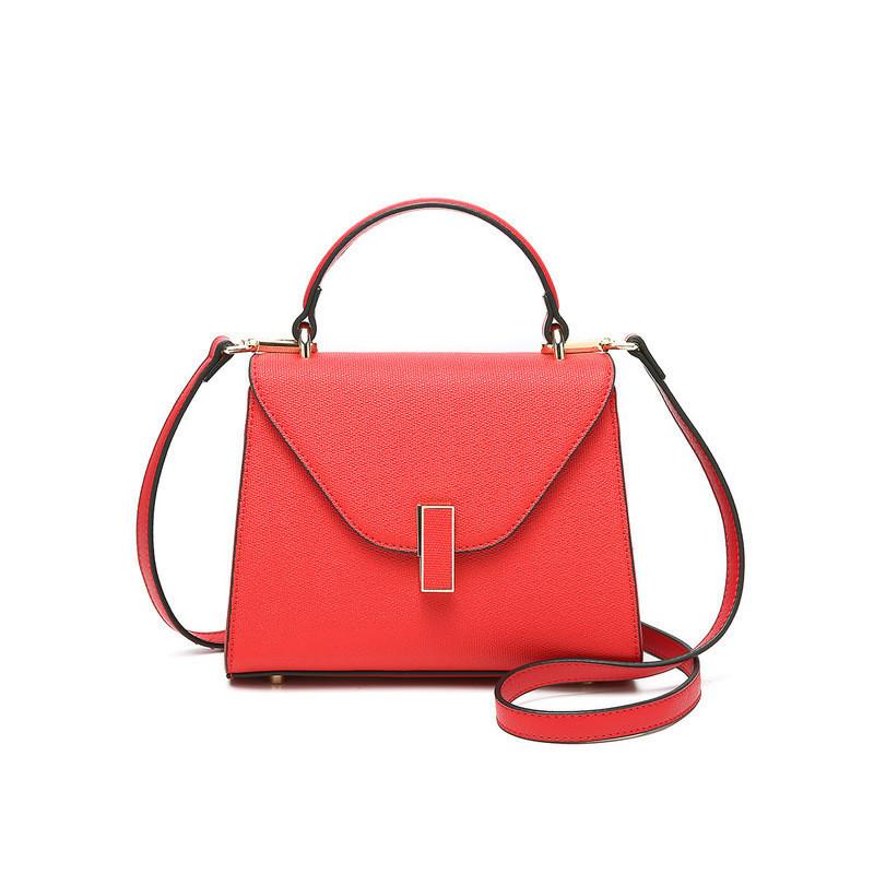 Кожаная стильная женская сумка красного цвета опт