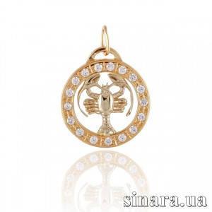 Золотая подвеска знак зодиака Рак 346