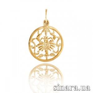 Золотая подвеска знак зодиака Рак 347