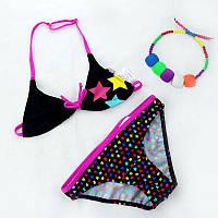 Детский модный купальник черный для девочки со звездами