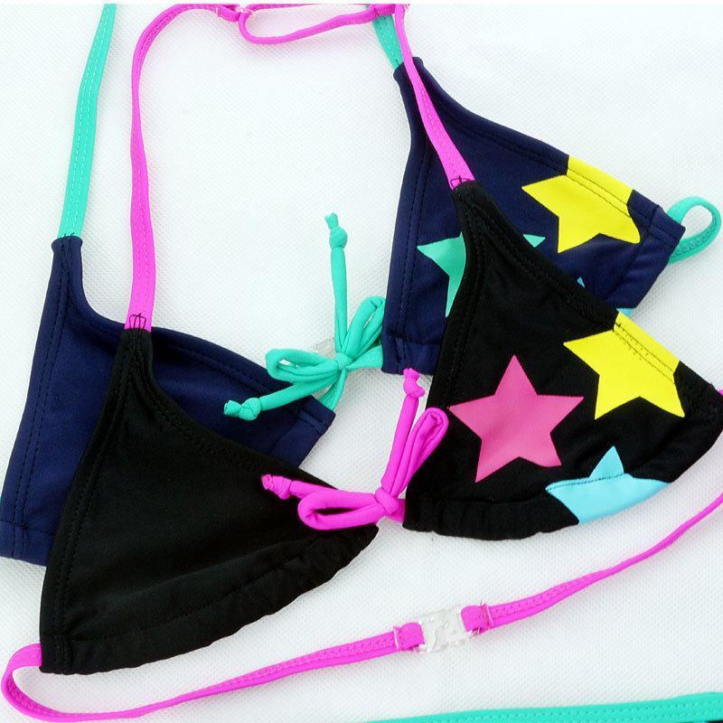 Детский модный купальник черный для девочки со звездами, фото 2